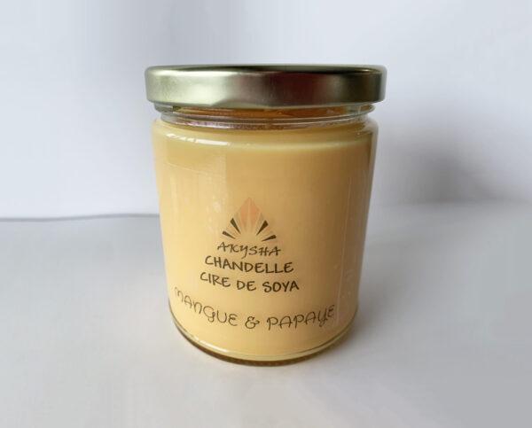 Chandelle de cire de soya - Mangue et papaye