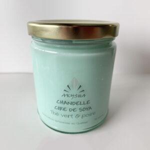 Chandelle de cire de soya - Thé vert et poire