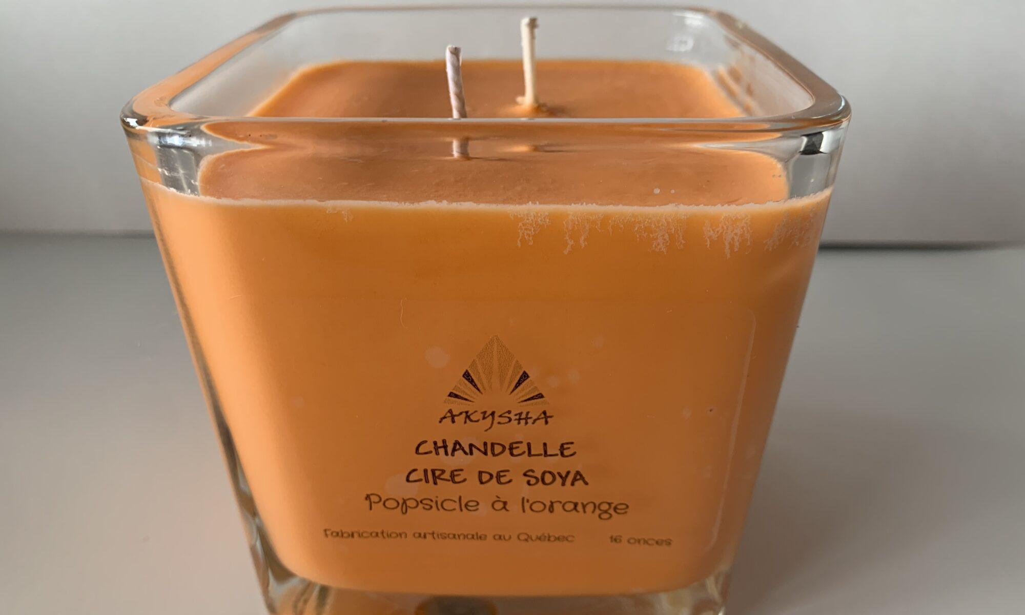 Chandelle de cire de soya au popsicle à l'orange